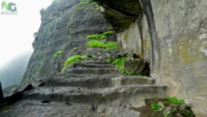Indrai fort Rock-cut stairs